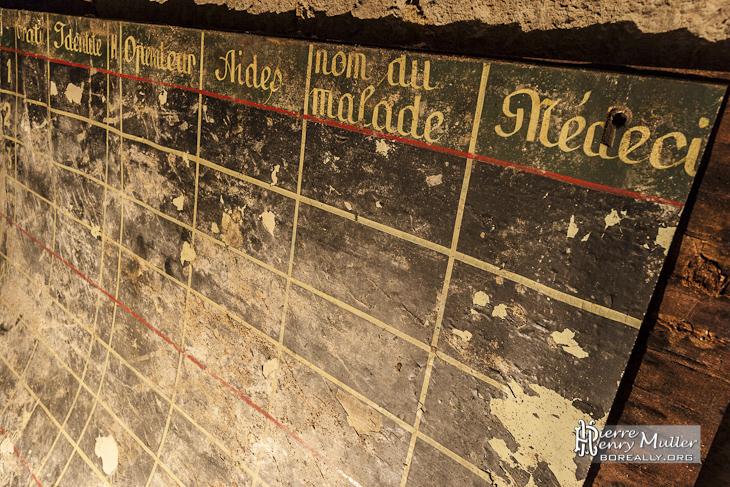 Détails du panneau de l'infirmerie du bunker de l'Otan
