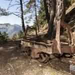 Wagon rouillé d'une mine de zinc en Espagne