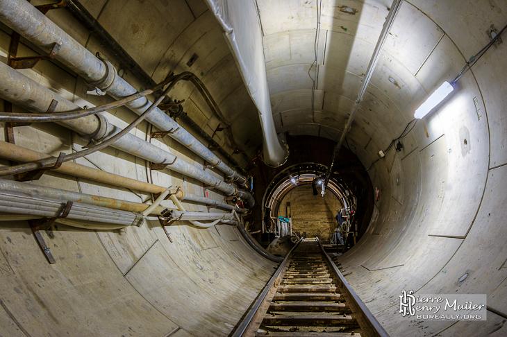 Tunnel Enertherm à la sortie du puits et galerie de recul