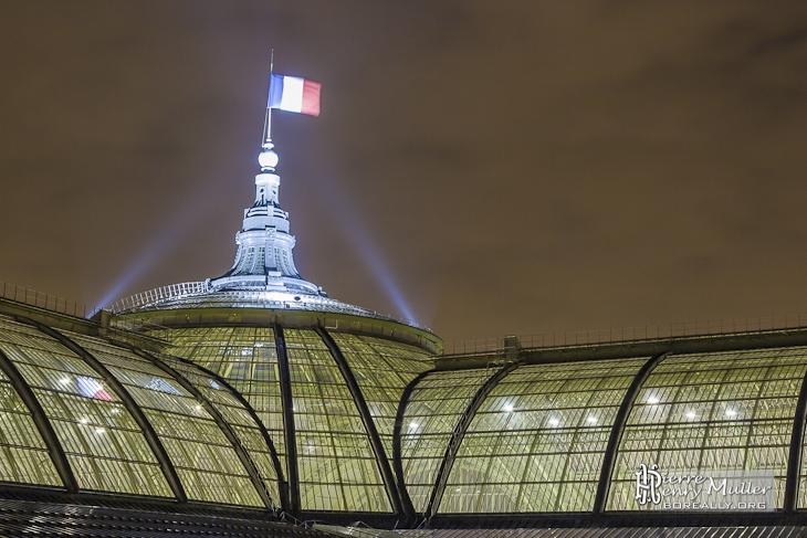 Dôme, flèche et verrière du Grand-Palais de nuit