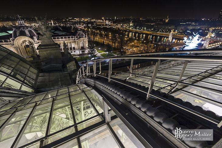 Echelle d'accès à la verrière du Grand-Palais sur fond de Paris la nuit
