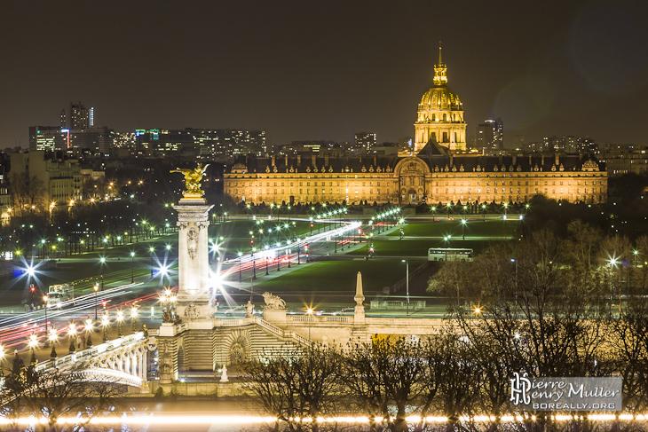 Les Invalides de nuit depuis le toit du Grand-Palais