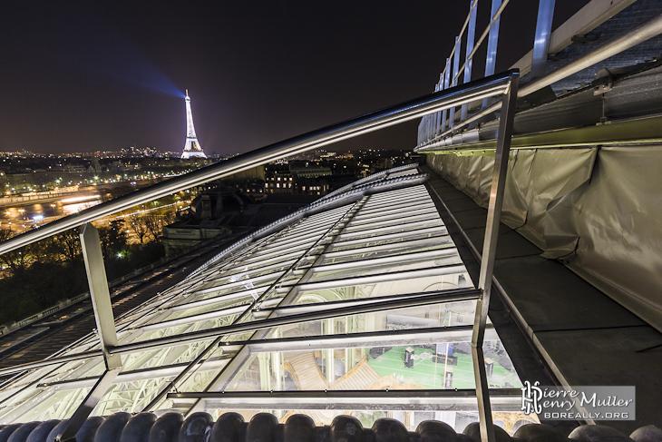 Sur la verrière du Grand-Palais et vue sur la Tour Eiffel et Paris de nuit