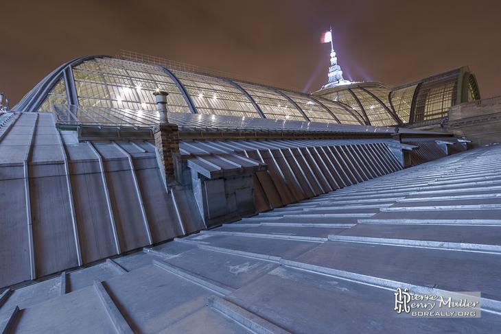 La verrière du Grand-Palais de nuit depuis sa base