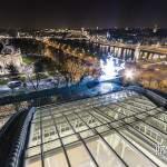 Verrière du Grand-Palais, quadrige Récipon, Pont Alexandre III et la Seine de nuit