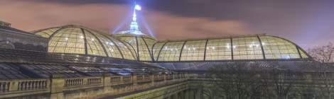 Photo TTHDR de la verrière et du toit du Grand-Palais de nuit.
