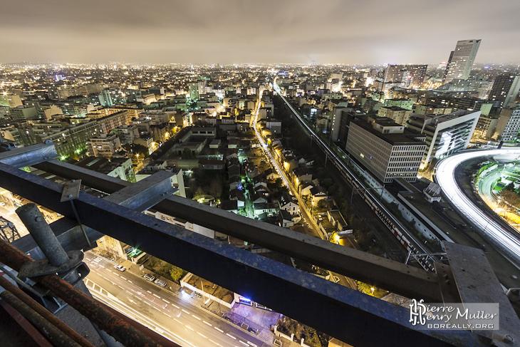 Courbevoie, Asnières sur Seine, Bois Colombes depuis la Tour T1 de nuit